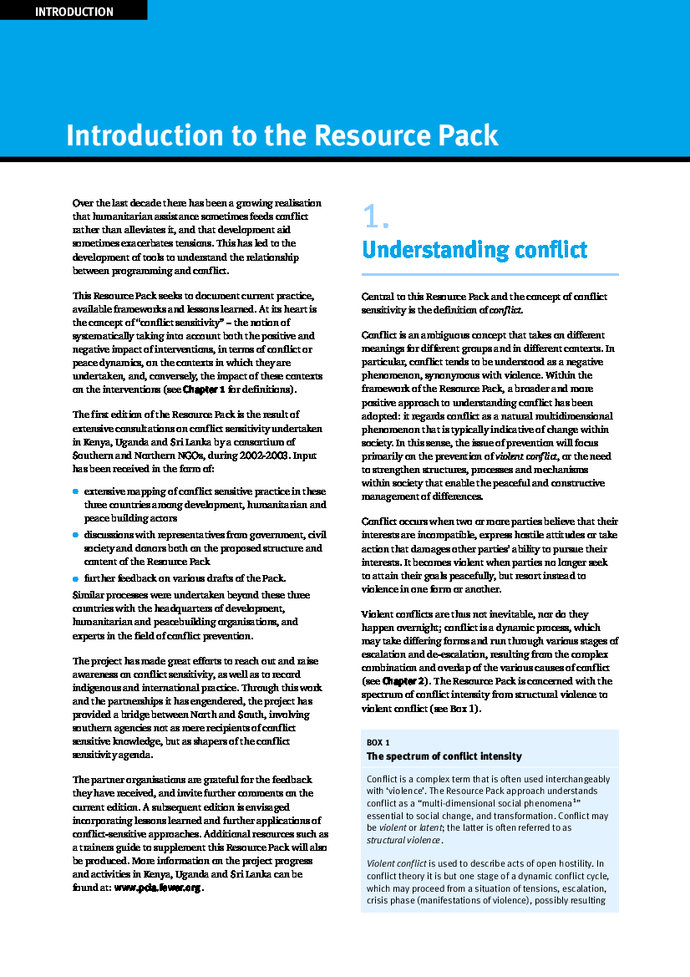 Conflict-sensitive approaches to development, humanitarian